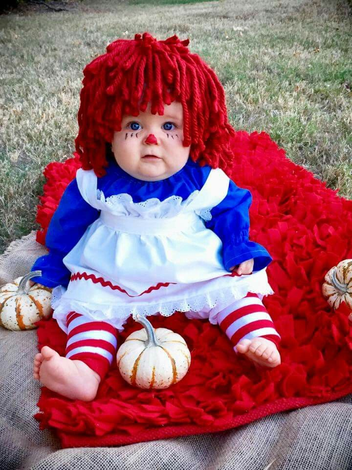 it helps when you have an adorable model but raggedy anns outfit was custom made by oh sew stinkin cute - The First Halloween Costumes