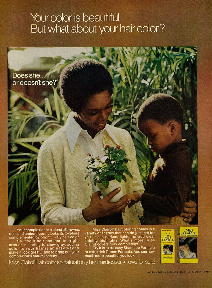 "https://flic.kr/p/BZVCBH | 1972 Beauty Ad, Miss Clairol Hair Color, Mother & Son in Garden | Caption: ""Your color is beautiful. But what about your hair color? Does she... or doesn't she?""  Published in Ebony, March 1972 - Vol 27, No. 5  Fair use/no known copyright. If you use this photo, please provide attribution credit; not for commercial use (see Creative Commons license)."