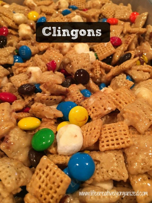 Clingons - easy dessert made with Chex cereal, marshmallows, peanut butter and M&Ms! Great for picnic or get-together.