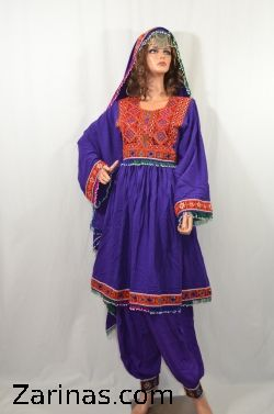 """Mursal Kuchi Style Afghan Dress.  Beautifully embroidered traditional Kuchi tribal Afghan dress. The material is soft, breathable, and light weight - perfect for the summer! It comes with matching pants, head scarf, and adjustable belt at the waist. The measurement of the bust is 19"""" from seam to seam, and the length is 35"""" long from the back. Color: Purple.   Size: Small to Large (Depending on bust size)"""