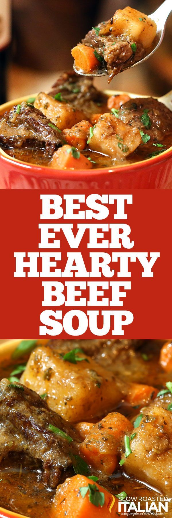 Look no further, this is the BEST EVER Hearty Beef Soup!  With juicy tender chunks of beef that melt in your mouth and a glorious rich soup loaded with vegetables it is truly the ultimate comfort food. This simple recipe has minimal active time and it is sure to be on your table again and again.  It has been on ours! If you are looking for the ultimate comfort food, this is the one.