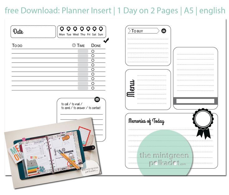 Free Filofax Planner Page Printable Inserts by Andrea Gomoll