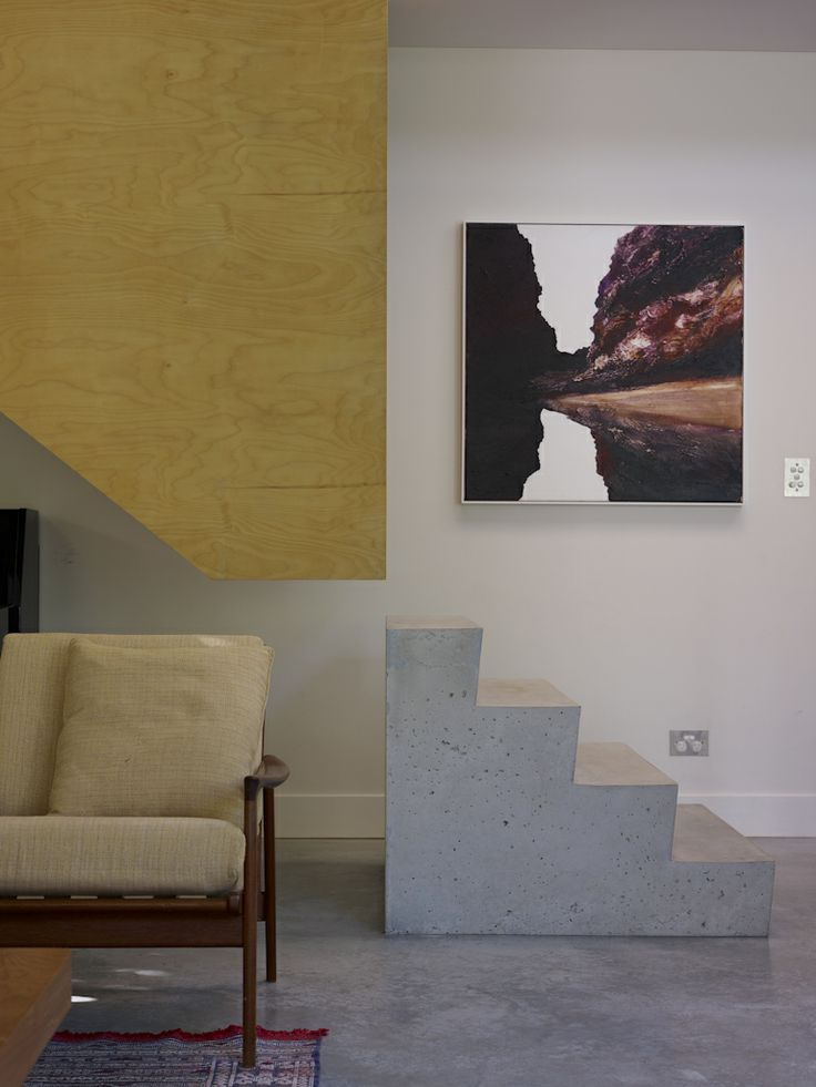 (c) Brett Boardman  Architecture, Stairs, Floating Plywood, Concrete Base, Art, Sydney  http://www.samcrawfordarchitects.com.au/campbell-house-2/#