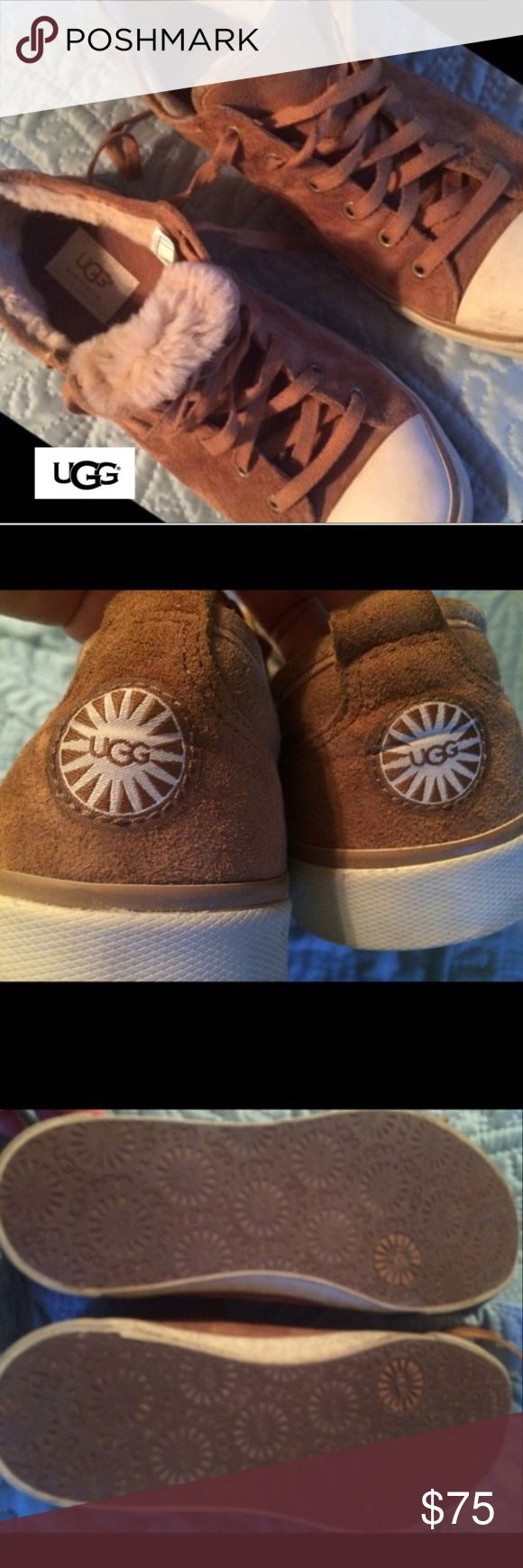 Womens Suede UGG Sneakers, Sz 8.5 EUC Excellent condition!  Barely worn-NEVER outside.  This winter just wasn't cold enough :( Original laces, no box.  Smoke-free home. UGG Shoes Sneakers