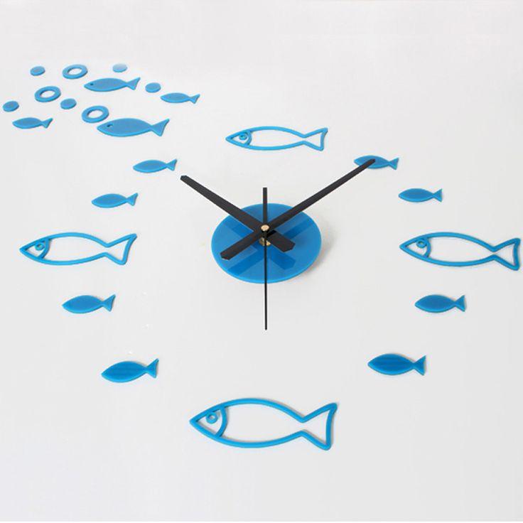 3D DIY Mediterranean Ocean Kids Room Decpration Wall Clock Home Decor Living Room Clock Creative Lovely Fish Group Clock