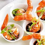 Asian ginger, soy sauce and sesame prawns
