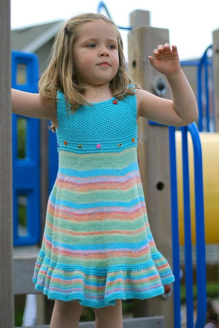 Free Knitting Patterns For Childrens Clothes : Free Knitting Pattern - Toddler Childrens Clothes: Shades of Summer Dres...