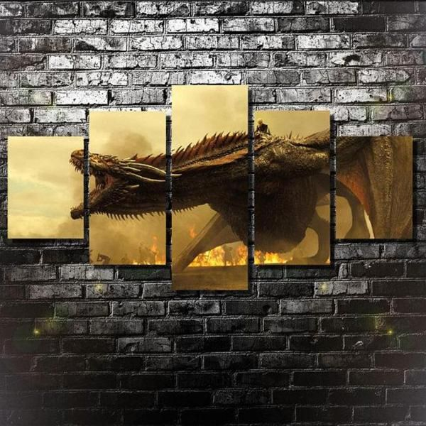Game Of Thrones Dragon Dracarys 5 Piece Canvas Wall Art Canvas Art Wall Decor Canvas Wall Art Customized Canvas Art