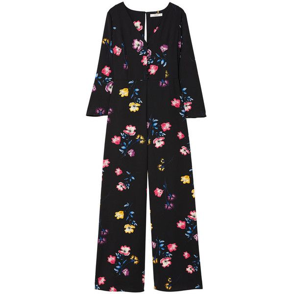MANGO Floral long jumpsuit found on Polyvore featuring jumpsuits, floral print jumpsuit, long sleeve jump suit, v neck jumpsuit, jump suit and flower print jumpsuit