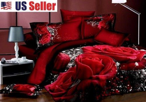 Queen's 3d Red Rose Black Prints 4pcs Queen Size 100% Cotton 800 Thread Count Bedding Sets Duvet Cover Set Bed Sets Bed Cover Set Quilt Cover Set Bedclothes Bedspread Bed Sheets Sets Bed Linens Bed in a Bag JOYBUY