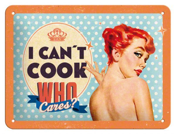 Placa metalica decorativa 15 x 20 cm I can`t cook