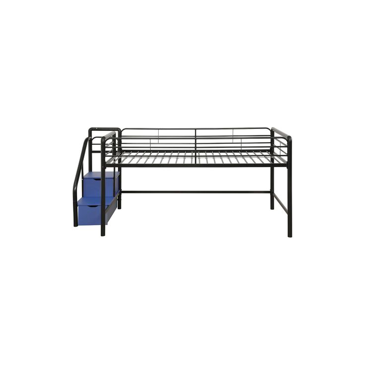 Junior Loft Bed With Storage Steps - Twin - Black/Silver - Dorel Home Products, Black/Blue