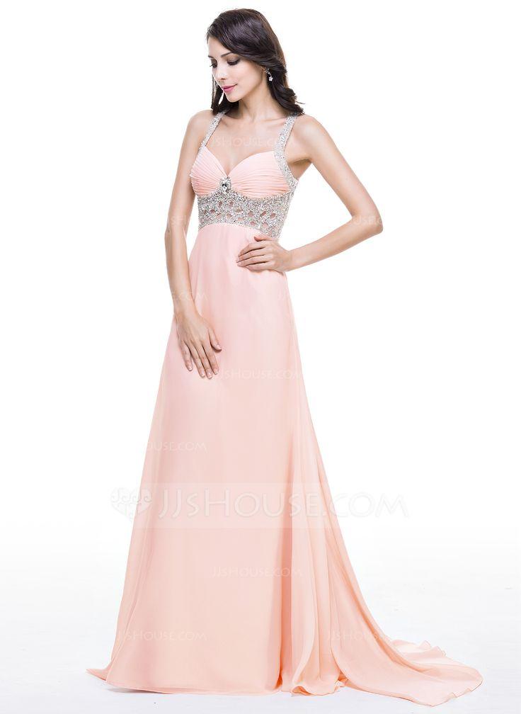 Trumpet/Mermaid Sweetheart Watteau Train Chiffon Evening Dress With Ruffle Beading Sequins (017051165) - JJsHouse