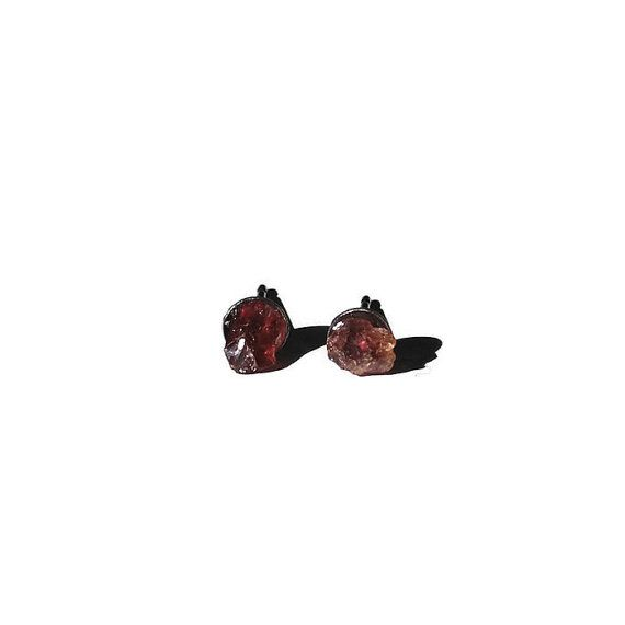 Teeny Tiny Ugly Garnet Stud Earrings 4mm Studs - tiny but beautifuly subtle #rawminerals #garnet #supporthandmade