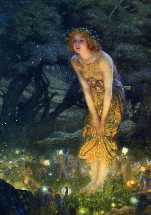 Edward Robert Hughes - Midsummer Night's Dream (1908) ~ Mom gave me a birthday card with this picture on it years ago <3: Edward Robert Hugh, Art Paintings, The Artists, First Apartment, Arthur Hugh, Midsummer Night Dreams, Art Pictures, Midsummer Eve, Fairies Tales