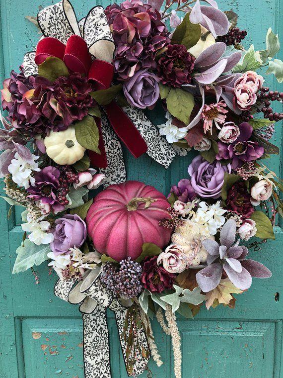 Elegant Fall Wreath Luxury Wreath Fall Floral Thanksgiving Centerpiece Fall Mum Wreath Fall Floral Wreath Designer Fall Door Wreath