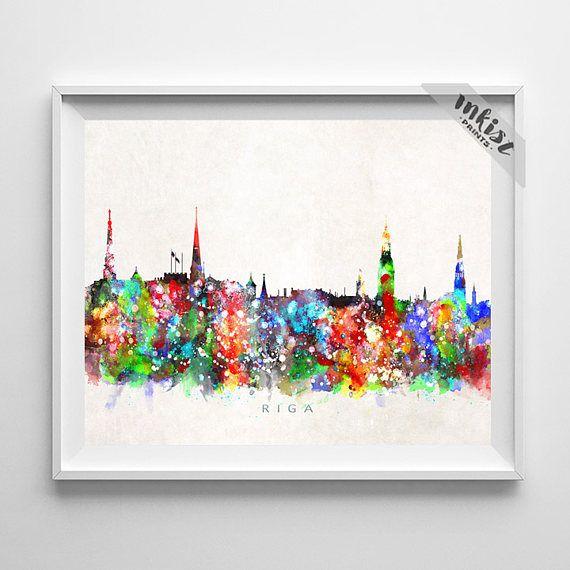 Riga Skyline Print, Latvia Art, City Poster, Watercolor Painting, Wall Art, Cityscape, Home Decor, Living Room Decor, Christmas Gift. Wall Art. PRICES FROM $9.95. CLICK PHOTO FOR DETAILS.#inkistprints #skyline #watercolor #watercolour #giftforher #homedecor #nursery #wallart #walldecor #poster #print #christmas #christmasgift #weddinggift #nurserydecor #mothersdaygift #fathersdaygift #babygift #valentinesdaygift #dorm #decor #livingroom #bedroom
