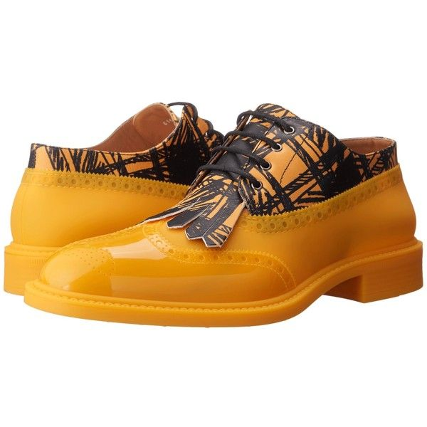 Vivienne Westwood Lace-up Brogue (Yellow/Black) Men's Lace up casual... ($495) ❤ liked on Polyvore featuring men's fashion, men's shoes, men's oxfords, mens black brogues, mens brogues, mens yellow shoes, mens summer shoes and vivienne westwood mens shoes