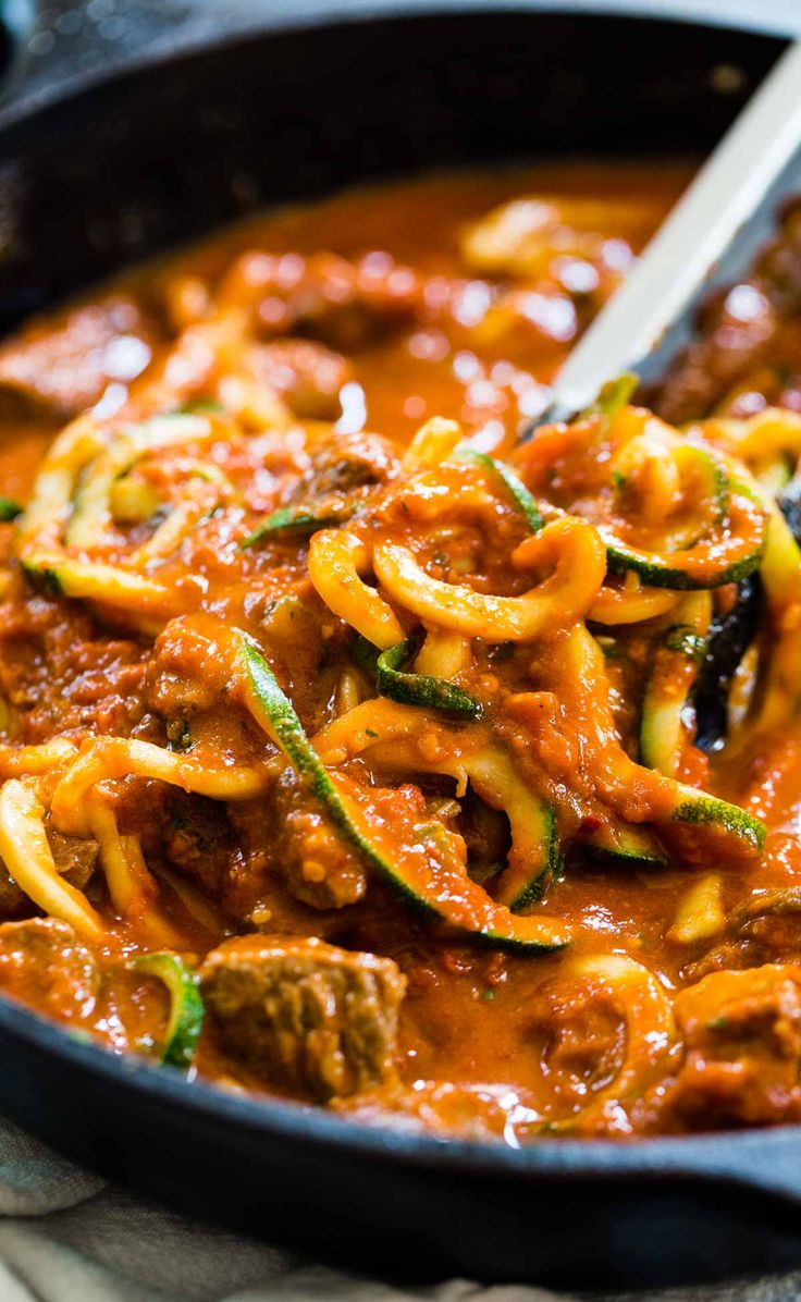 4 Ingredient Creamy Vodka Steak Pasta - Steak bites seared in browned butter in a vodka sauce over zucchini noodles. SO EASY and super good! 400 calories.