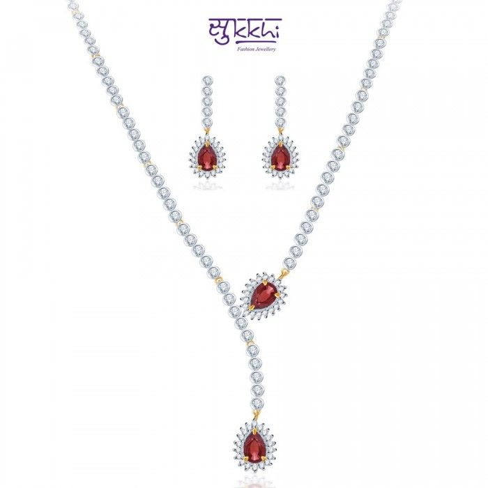 Gorgeous Pink Rodium plated CZ Necklace Set | High5Store.com