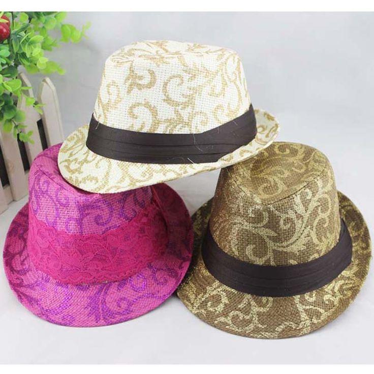 Children Floral Fedora Hat Baby Straw Cowboy Hat Kids Summer Sun Cap Boys/Girls Fedoras Dicers 10pcs BH0897