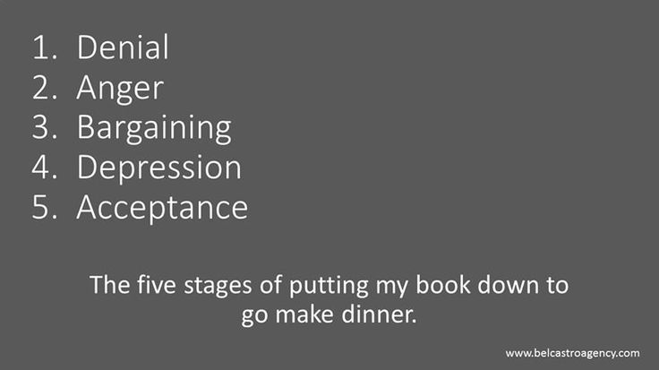 The five stages of putting my book down to go and make dinner!
