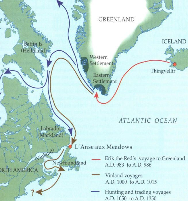 Leif Ericson Map Route viking settlements in north america | Leif Erikson Route Map