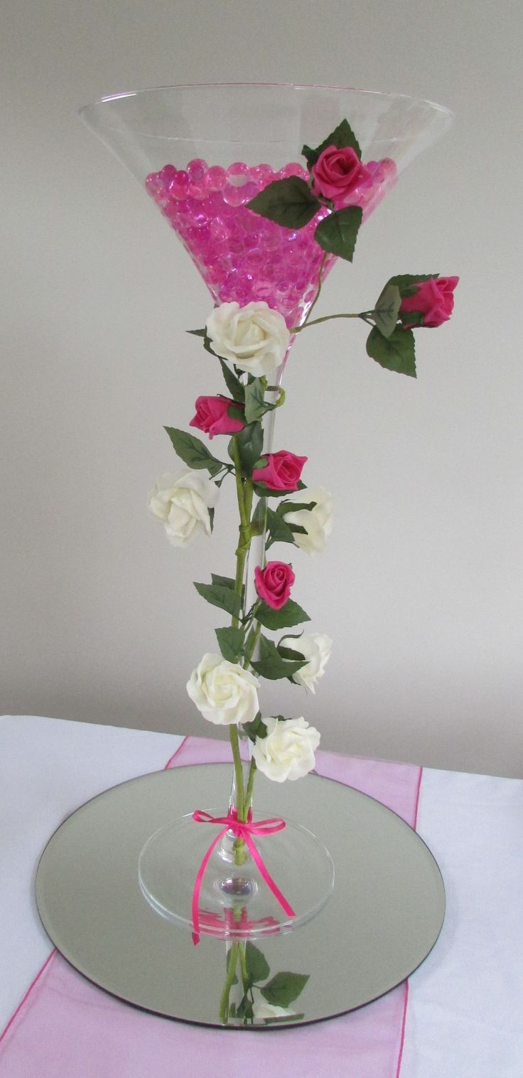 70cm Martini Vase Decorated With Roses With Hot Pink Gel Balls And Lights Centrepieces