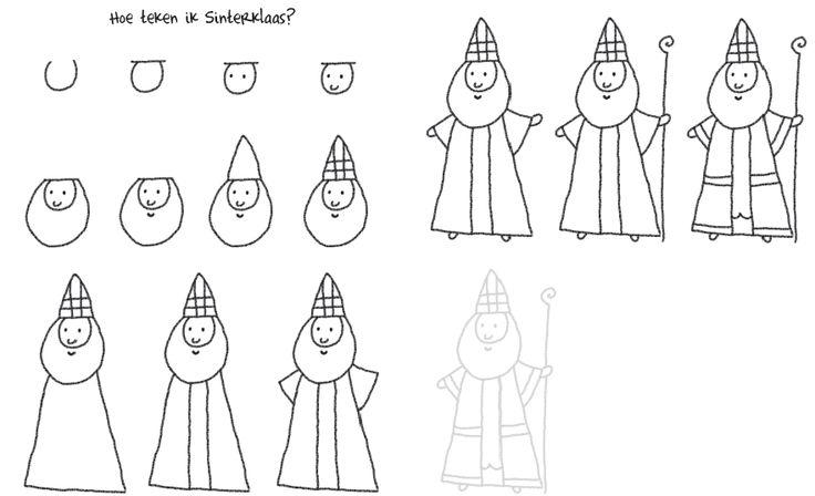 Hoe teken ik Sinterklaas?