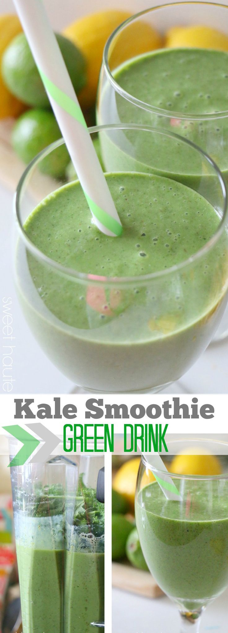 Kale smoothie green drink recipe tutorial 2 ways-SWEET HAUTE pin now...make later! #whole30 #paleo #alkalising