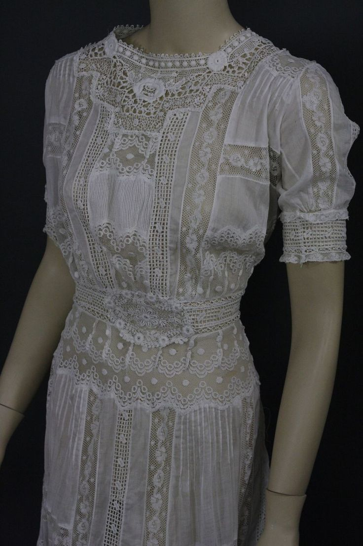 Antique Victorian Edwardian Tea Dress gown fancy lace bridal wedding from mmmoonchild on Ruby Lane