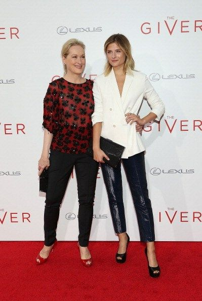 With daughter Louisa Gummer attending 'The Giver' premiere at Ziegfeld Theater in NYC ~ August 11, 2014