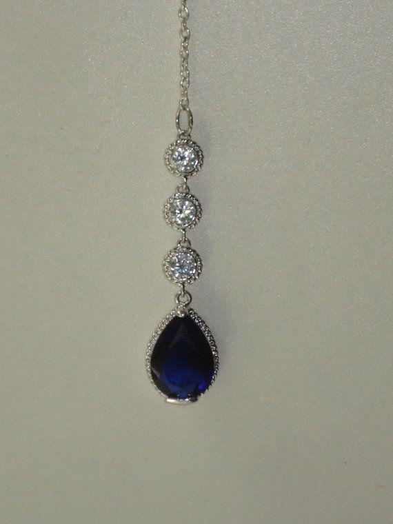 Tikka -  Deep Blue Crystal Drop Bollywood Jewelry - Silver Tribal Hair Chain - Bellydance on Etsy, £11.50