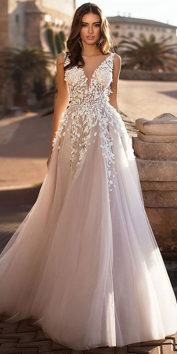 Fantastic Tulle V Neck Neckline A Line Wedding Dress With Lace Appliques 3d Flowers Beadings Wedding Dress Trends Wedding Dresses Bridal Dresses
