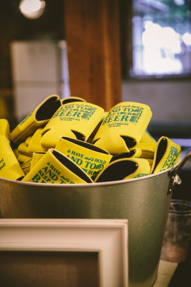"""These custom coozies make great wedding favors! Love the message: """"To have and to hold and to keep your beer cold."""""""