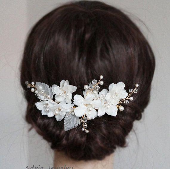 Oro seda flor pelo peine, cristales perlas flores nupcial casco, marfil canas vides venda Clip lateral Tiara accesorio para el pelo