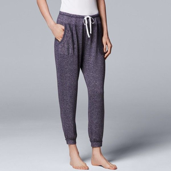 Women's Simply Vera Vera Wang Waking Hours Cropped Pant (90 ILS) ❤ liked on Polyvore featuring pants, capris, blue, draw string pants, cropped capri pants, pocket pants, blue trousers and blue capri