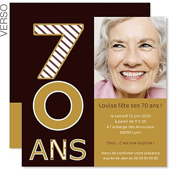 Invitations Anniversaire Adulte - 70 ans - Or et Chocolat - 3
