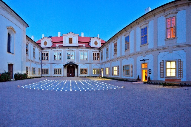 The maze of 343 (I think) lights in the corutyard at Castle Loucen in Czech Republic