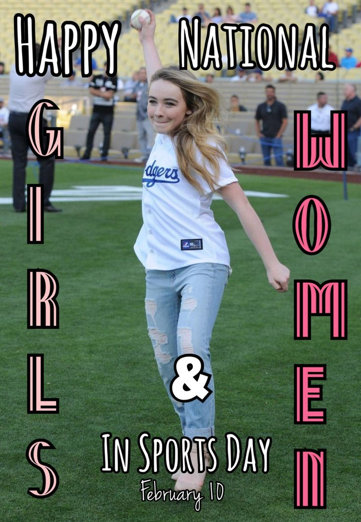 Love Sabrina Carpenter playing sports at the Dodgers game? Happy National Girls and Women in Sports Day!! // @sabaribello
