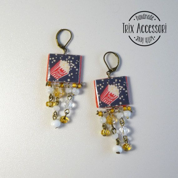 "Pendant Earrings ""PopCorn"", Handmade Earrings, polymer clay, mosaic, crystal, girl gift, snack, tv series, tv, kawaii, movie, miniature food"