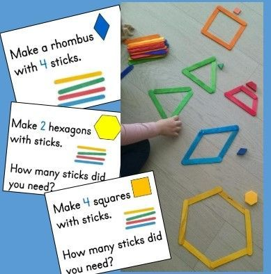Kindergarten Geometry Math Center: Making Shapes from Sticks