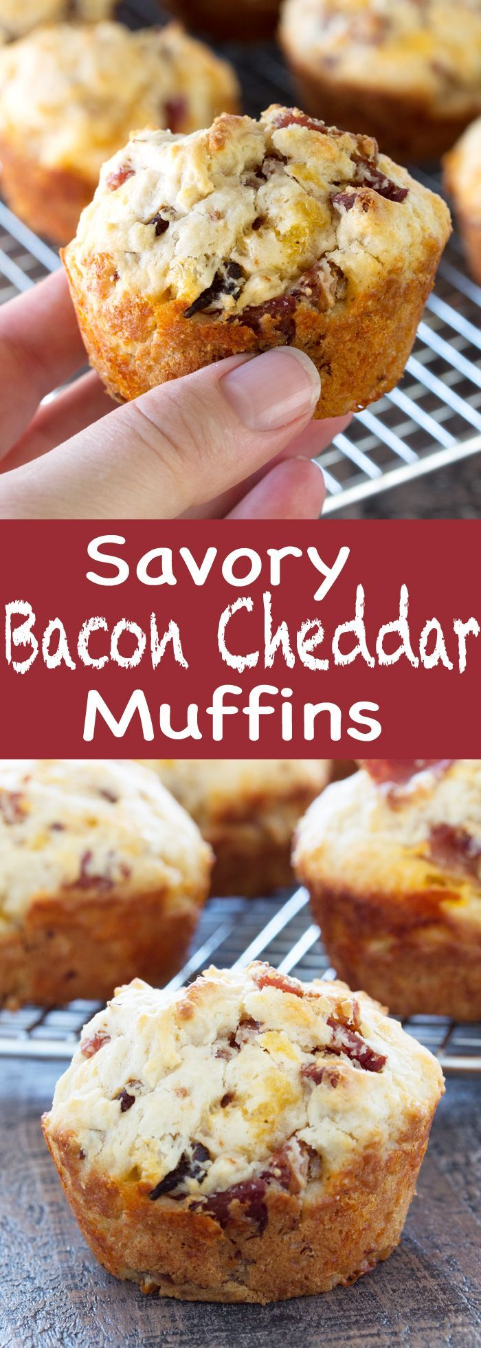 Savory Bacon Cheddar Muffins are the perfect on-the-go breakfast item. It's a hearty, moist, and deliciously savory muffin that you'll be happy to wake up to every day!
