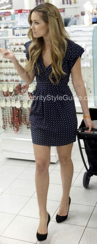 Lauren Conrad Style and Fashion - 3.1 Phillip Lim Navy blue deep v-neck dress - Celebrity Style Guide