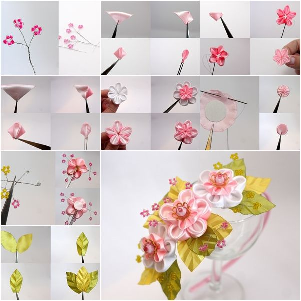 How To Make Japanese Ribbon Cherry Blossom Diy Tutorials Fabric Flower Tutorial Flower Tutorial Flower Crafts