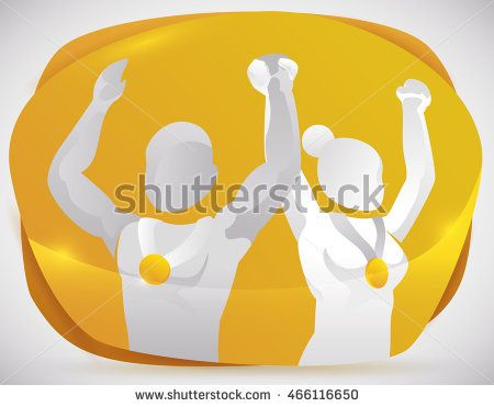 Proud couple of medalist in golden shape celebrating their triumph in sports…