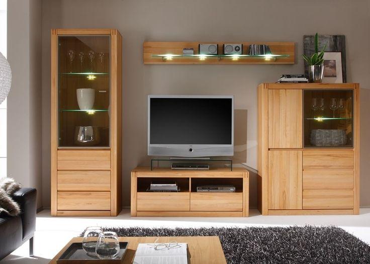 Wohnwand Kernbuche Ponto Wohnzimmerschrank Holz Massiv 8800 Diese Helle Besteht Aus Vier Einzelnen Elementen Welche Ideal Aufeinander