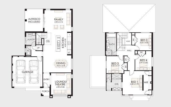 Plano de casa de dos pisos 2
