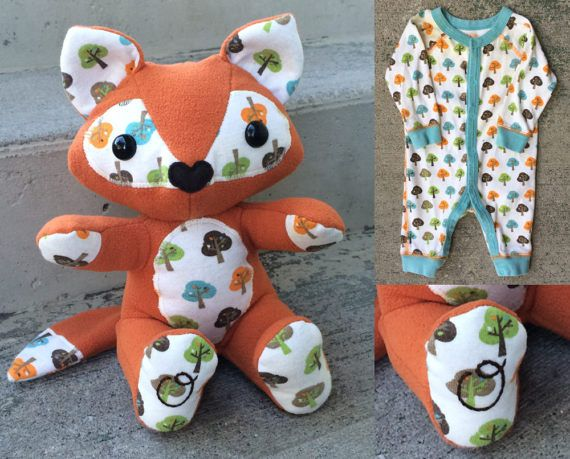 Custom Keepsake Memory Fox for Preemies: upcycled from your own preemie baby clothes, tiny coming home outfit, premature baby keepsake