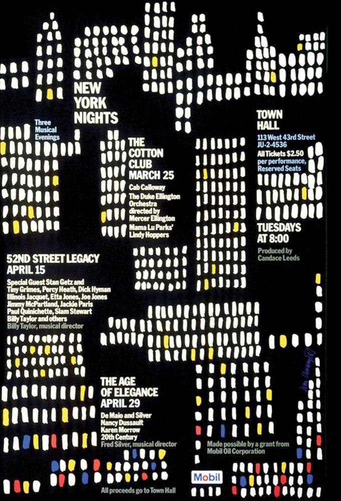 Ivan Chermayeff Mobil New York Lights   Mobil Poster 1975